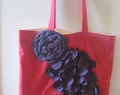 Large Pink Cotton Tote with Purple Jersey Flower and Petals
