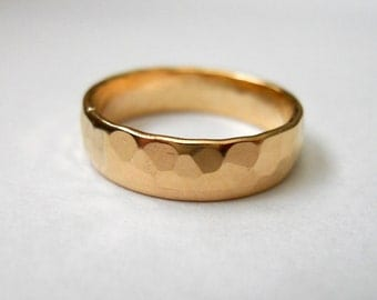 Hammered Low Dome Band 14K gold filled