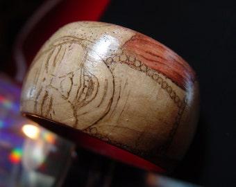 Laughing Buddha Wood Burned Bracelet