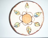 medium bowl-orange daisy with leaves