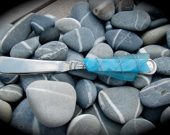 """Sea Glass Cheese Knife made with Recycled Bottle """"Tumbled Island Glass""""  in Turquoise. Dishwasher safe Stainless Steel"""