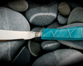 """Sea Glass Cheese Knife made with Recycled Bottle """"Tumbled Island Glass""""  in Sea Foam Teal. Dishwasher safe Stainless Steel"""