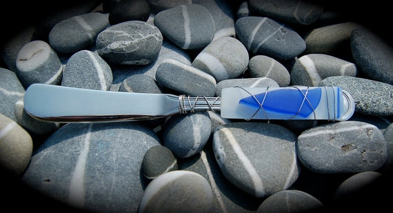 "Sea Glass Cheese Knife made with Recycled Bottle ""Tumbled Island Glass""  in Cornflower Blue.. Dishwasher safe Stainless Steel."