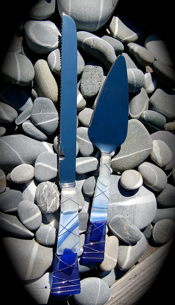 Sea Glass Wedding Cake Knife Amp Server Made With Recycled