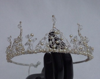 SALE Tiara: Half price bridal 5 delicate peak half coronet with pearls and crystals for wedding or prom
