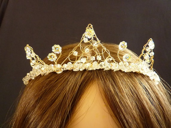 SALE Bridal Hair Accesory Tiara with delicate  crystal and gold peaks for wedding or prom