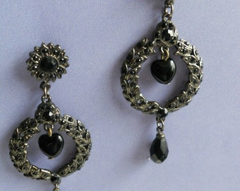 Black Noir Earrings - Dark Silver with Black Glass Beads - Perfect with the Little Black Dress