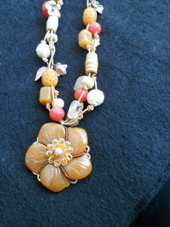 Cookie Lee Apricot Glow Tribal or Asian or Art Nouveau Necklace