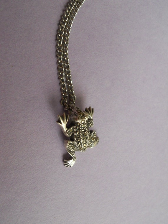 Vintage Marcasite Sterling Silver  Frog Pendant on Silver Plated Chain
