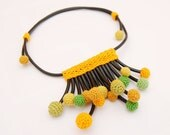 MUGURI - Crochet Necklace Summer Fashion Contemporary Jewerly Yellow Green Cotton With Adjustable Leather Cord Bright June Smart Casual