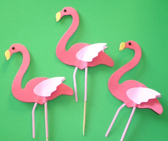 12 Pink Flamingo Cupcake Toppers... zoo animal, bird, tropical, pink, party, birthday, girl