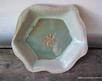 Ceramic Serving Dish, Pottery Serving Dish, Handmade Pottery for the Kitchen, Decorative Pottery Dish, Dessert Sage Green, Pottery Gifts