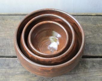 Handmade Pottery Nesting Bowls - Ceramic Nesting Serving Bowls - Rustic Handmade Kitchenware - Set of 3 Ceramic Nesting Bowls
