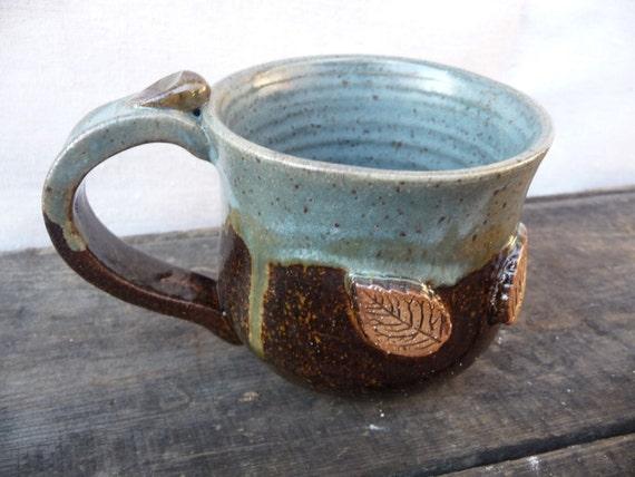 Leaf Coffee Mug in Bluegray & Temmoku Brown