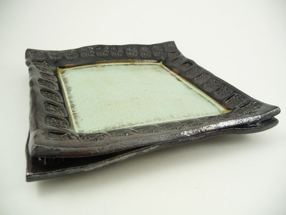 Square Ceramic Plates in Pale Green and Black - Set of 2