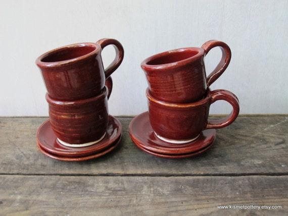 Ceramic Espresso Cups & Saucers in Rustic Red - Set of 4