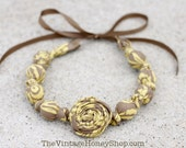 Fall Rosette Necklace- Brown & Yellow Bouquet