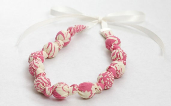 Teething Necklace- Pink & Ivory Flower Beauty