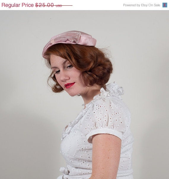 reserved / sale / vintage 1950s hat / pillbox / Cotton Candy