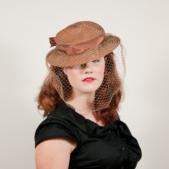 vintage 1940s hat / tilt hat / Copper Leaf