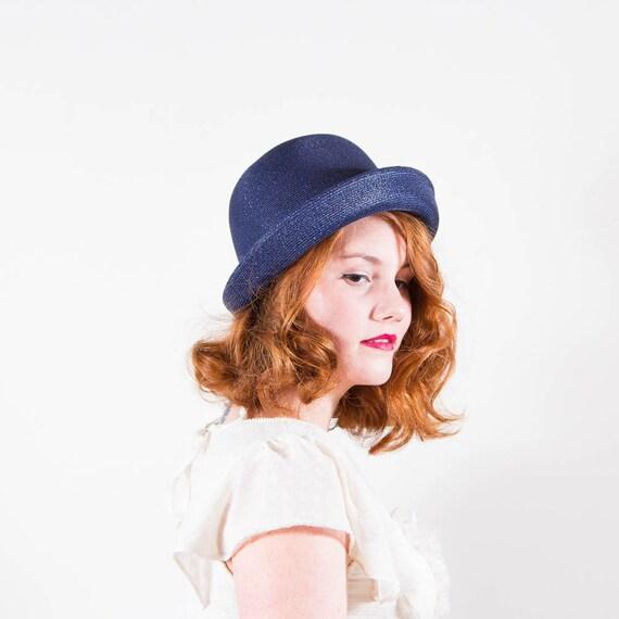 vintage 1960s hat / straw cloche / Nautical