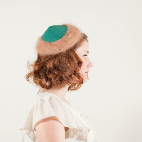 vintage 1950s hat / toque / Minty Fresh