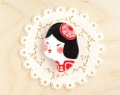 minini hand painted porcelain brooch pin unique jewelry by min lee 12026