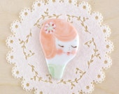 minini hand painted porcelain brooch pin or magnet by min lee 12047