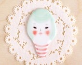 minini hand painted porcelain brooch pin or magnet by min lee 12060