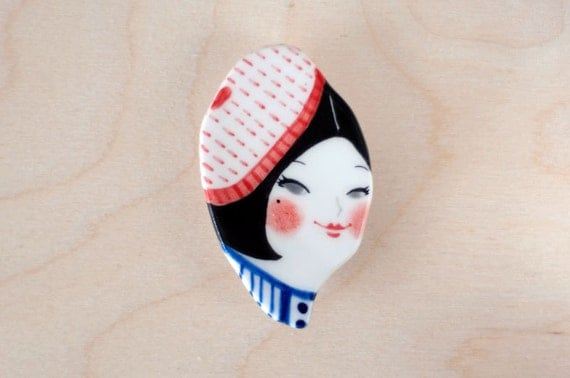 minini hand painted porcelain brooch pin unique jewelry by min lee 12020
