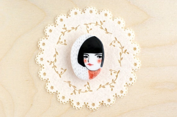 porcelain brooch pin unique jewelry hand painted by minini min lee 12033