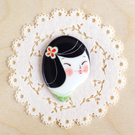 minini hand painted porcelain brooch pin or magnet by min lee 12049