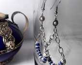 Egyptian Earrings - Silver and Lapis Hoop Earrings with Sun Beads