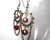 Chandelier Earrings - Antique Brass, Amber Glass, and Swarovski Pearl