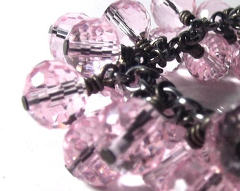 Pink Bracelet in Brilliant Faceted Glass and Black