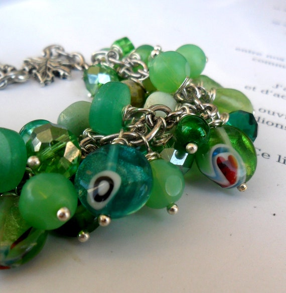 Green Charm Bracelet with glass and stone beads