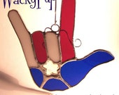 I Love the USA OOAK American Sign Language Stained Glass Ameslan ASL Hand Heart Gift Shipped Priority Mail