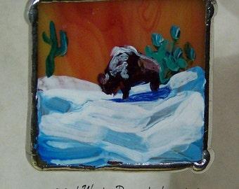 SALE SAVE 40% Buffalo in the Snow Tiny Hand Painted Landscape Glass Pendant - Tiffany Art Glass - Original Artwork OOAK