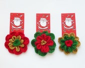 Crochet Christmas Pattern Flower  tutorial Colorful 3/4 layers,  Home decor Christmas Tree Ornament