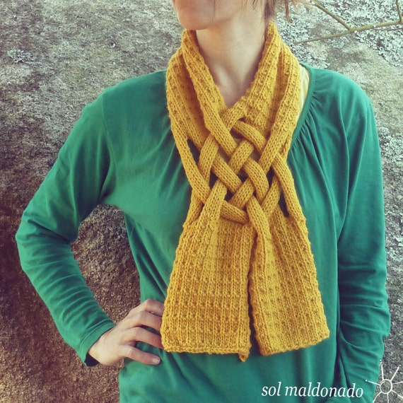 Scarf Knit PDF Pattern Weave - PDF ebook how to easy Knit Pattern - Woman Fashion Winter Accessory knitting pattern