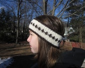 Brown and Off-White Winter Head Band