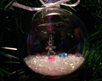 Glass Ornament with Teddy Bear