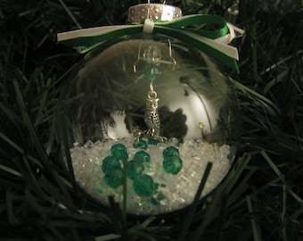 Glass Ornament with Owl