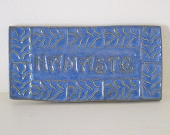 Bright Blue Textured Namaste Ceramic Tile