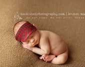 Newborn visor photo prop for boys - Red plaid - READY TO SHIP