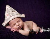 Newspaper hat girl photo prop for newborns - Ready To Ship