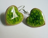 Clear Crackle Green-porcelain heart earrings by C.C.