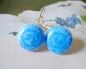 Crystalline-Handmade bluecrystalline round porcelain earrings by C.C.
