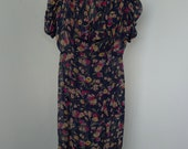 vintage 1930's sheer floral garden party day dress with gathered puff sleeves