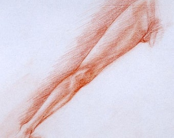 Sanguine Drawing of a Leg